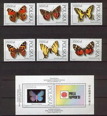 516 Poland 1991 Insects - Butterflies set + MS MNH