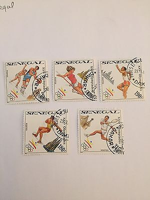 Senegal stamps 1992 Olymic games stamps SG 1038 to 1042
