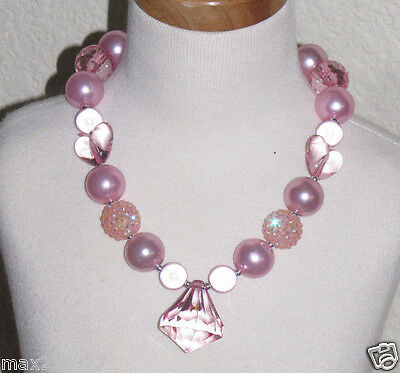 New Acrylic Chunky Beads Bubblegum Gumball Jewlery Necklace Valentines Hearts
