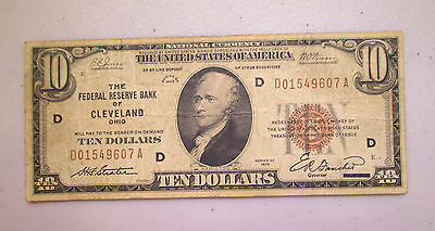1929 $10 National Currency - Federal Reserve Bank Cleveland Ohio - Lot N243