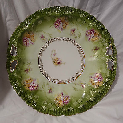 """12"""" x 1 3/4"""" Bowl / Platter Tray Embossed Scalloped Hand Painted Roses Gold Trim"""