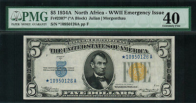 """1934A $5 North Africa WWII Emergency Issue FR-2307* - """"STAR NOTE"""" - PMG 40 - EF"""