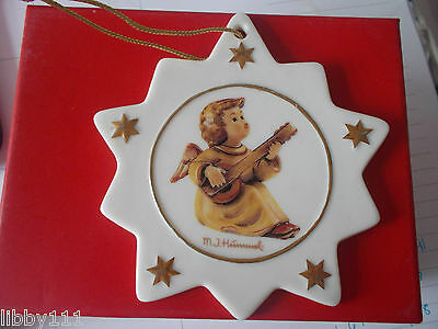 M. J. Hummel Christmas Star Ornament Angel Playing Instrument and Singing 2 Side