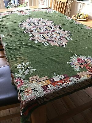 Vintage Patterned chenille Tablecloth - c 1930s-40s