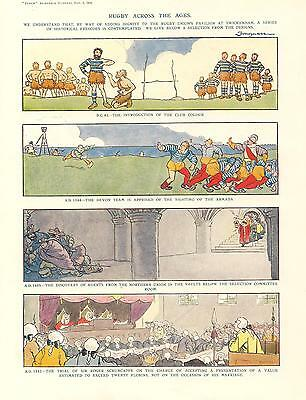 Vintage 1924 Punch Coloured FOUGASSE RUGBY Cartoon
