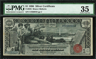1896 $1 Silver Certificate FR-225 - Educational Note - PMG 35 - Choice Very Fine