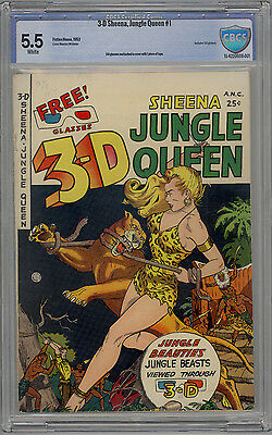 3D Sheena Jungle Queen #1 CBCS 5.5 White Pages LIKE CGC 1953 Fiction House HTF