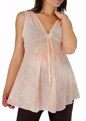 Pink Peach Lace Mesh Sheer Solid Maternity Top Spaghetti Strap Summer Fresh