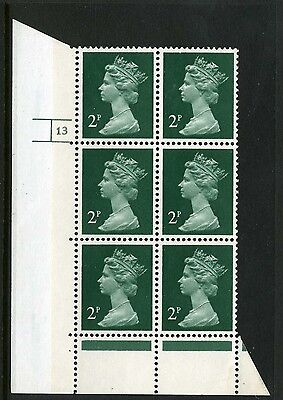 Machin  (photo) 2p all over phosphor MNH Plate block of 6 Plate 13 no dot no P