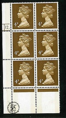Machin  (photo) 4p 2 bands MNH Plate block of 6 Plate 12 dot no P number Perf R