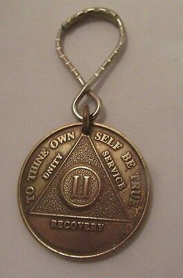 Alcoholics Anonymous 2 Years AA  Bronze Medallion Key Chain Ring Token Coin