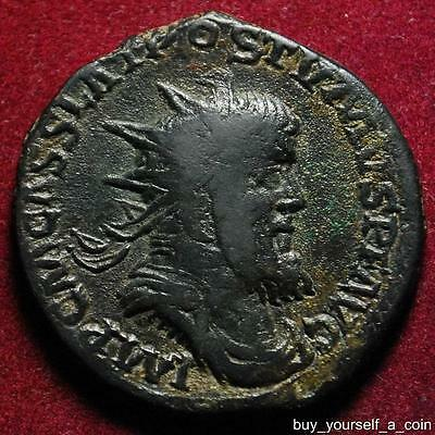 Postumus AE double sestertius, Victory with captive, Cologne 261AD - NICE!!!