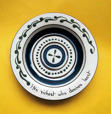 AN UNUSUAL HIGH GLAZE ALLER VALE TORQUAY BOWL or PLATE or DISH 20cms/8inches
