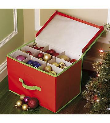 Bnwt Christmas Bauble / Tree Dec Storage Bag / Box Red  Approx 11 X 11 X 15 Inch