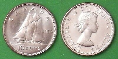 1959 Canada Dime 80% Silver From Mint Set