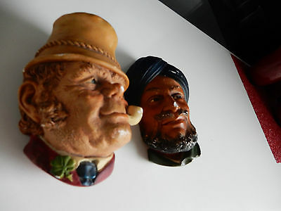 """Vintage Bossons Chalkware Head 'Paddy'  and """"Sikh"""" 1969 Wall hanging plaques"""