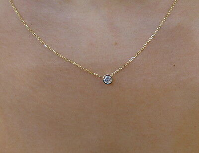 Diamond Solitaire Bezel Set Necklace 14K Yellow Gold 0.15 Ct Si1 G Color Natural