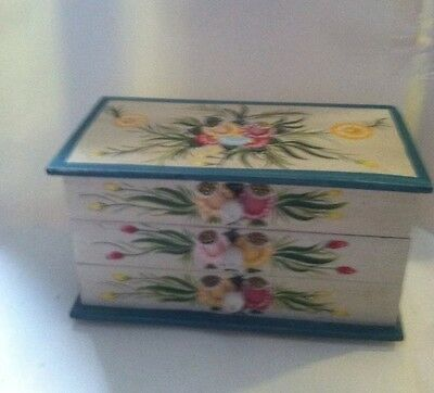 Hand Painted Wooden Box With Drawers