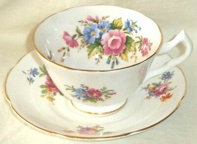 Collingwoods Footed Cup & Saucer Flowers Made in England