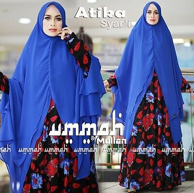 Royal Blue Atika Instant Hijab Khimar Amira One Piece Slip On Muslim Scarf Abaya