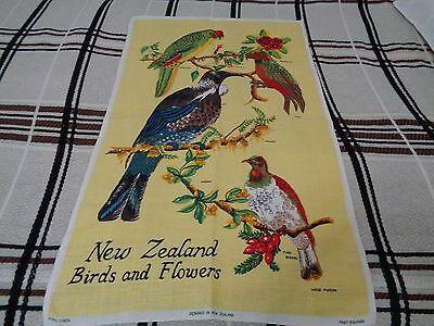 "Linen New Zealand Birds And Flowers Tea Towel 30"" X 18 1/2"" Bright Colors"