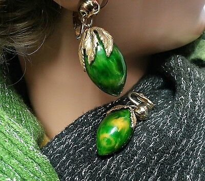 Vintage Bakelite Signed Napier Earrings Cream Spinach Green Swirl Collectors !!!