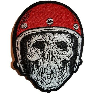 Skeleton Biker in Hemet Skull Embroidered Iron On Patch Sew On Patch Transfer