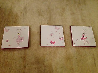 Childrens Pink Ballerina and butterfly canvases x 3 for bedroom / nursery