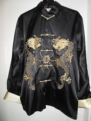 "Mens XL Black & Gold Chinese Dragon Embroidered Satin Jacket Chest 46"" Classic"