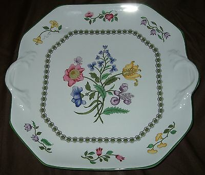 Spode Summer Palace Fine Stone Square Handled Cake or Serving Plate