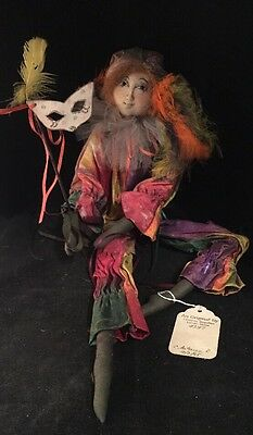 NEW YEARS EVE MASQUERADE Christine Rugullies ART DOLL Handmade MAINE Mask