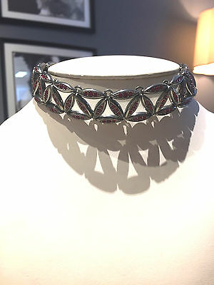 Authentic Christian Dior Choker Ruby Crystals Gunmetal Links