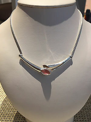 Authentic Christian Dior Modernist Silver Wings Necklace Pink Glass