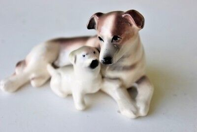 Vintage Ceramic-Porcelain Dog and puppy Figurine-Made in Japan-Hand Painted
