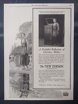"""Vintage 1918 Ad{V1)~New Edison """"the Phonograph With A Soul"""" Christine Miller"""