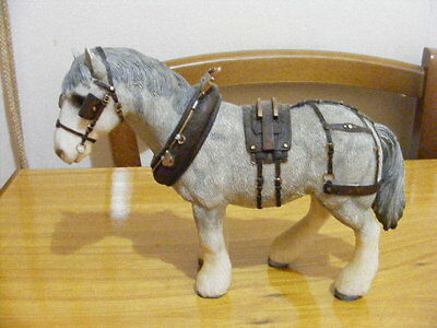 Ornament Figurine - Grey Shire Horse with Harness