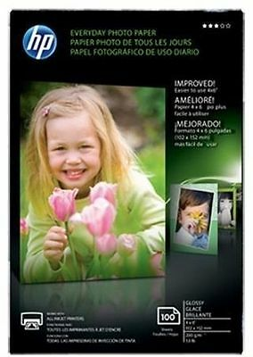 """HP Everyday Photo Inkjet Paper 100 Sheets Glossy 4"""" x 6"""" - Sealed New In Box"""