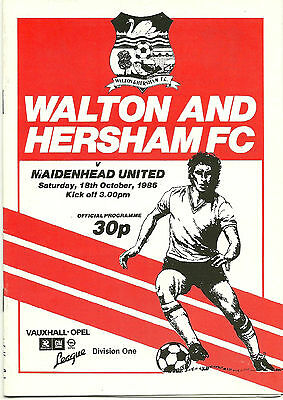 WALTON AND HERSHAM v MAIDENHEAD UNITED 18th OCTOBER 1986 VAUXHALL OPEL DIV' ONE