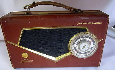EXTREMELY RARE VINTAGE HMV J3-16 All Transistor Radio with Dark Red Leather Case