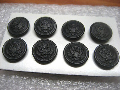 Vintage Uniform Buttons US Army 1950s, lot of 8,black