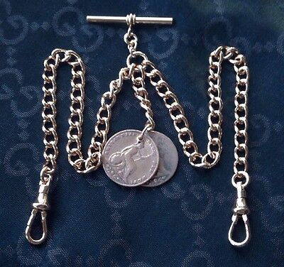 1858 Victorian Coin Fob Rolled Rose Gold Double Albert Pocket Watch Chain