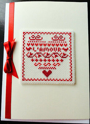 Completed Cross Stitch Card 15 x 21cm Heart Mini Sampler  Valentine  French Chic