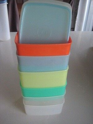 Vintage Tupperware Square Rounds x 6 in  pastel colours with good lids