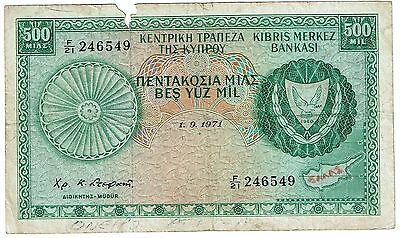 1971 Central Bank of Cyprus 500 Mils (B91)