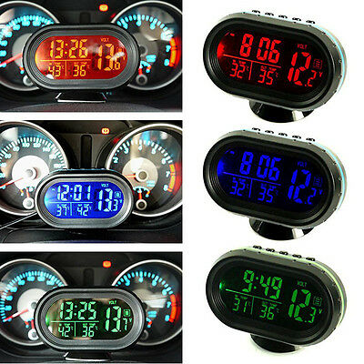 Red Digital 12v Car Voltage Temperature Thermometer Clock LCD Monitor Display