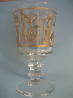 Bespoke Wine Glass Hand Engraved With Numerous Masonic Symbols & Gold Infilled