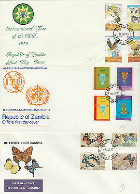 ZAMBIA, FDC collection, (4 scans) all clean & unaddressed