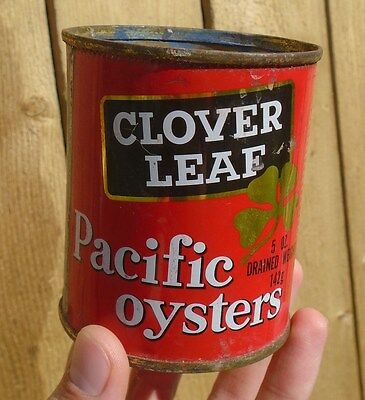 VINTAGE 1960's CLOVER LEAF PACIFIC OYSTERS (5 OZ.) TIN - BRITISH COLUMBIA PACKER