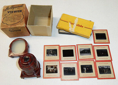 Vintage HOLLYWOOD VIEWER With (9) Kodachrome Slides 1950's Cars, People, Market+