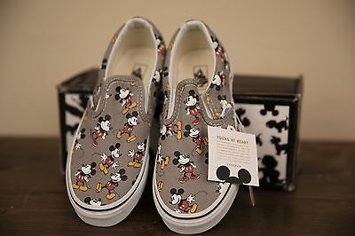 VANS CLASSIC SLIP-ON DISNEY MICKEY MOUSE FROST GRAY/BLACK/RED Kids Shoes Size 2